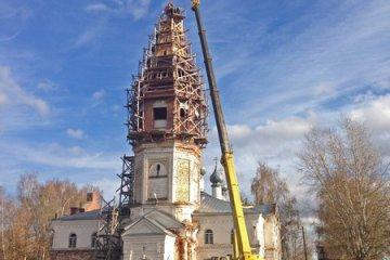 Поднятие и установка купола